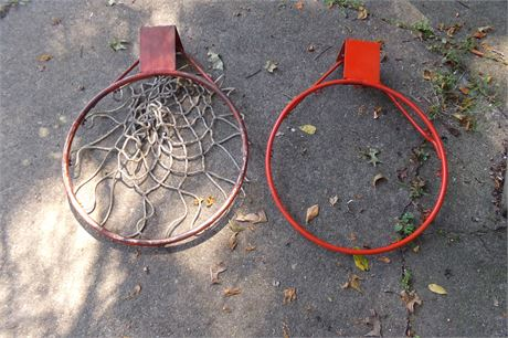2 basketball hoops, one with net
