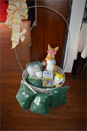 Giant Easter Basket/PAZ tin/Large ceramic bunny, bags of Easter Grass