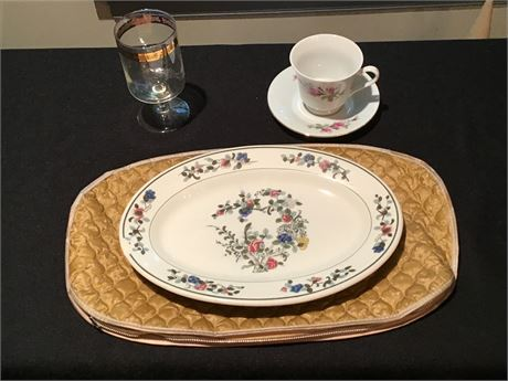 Crescent Fine China Cup and Saucer, China Platter, and More