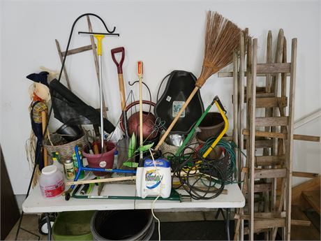 Large Lot of Lawn and Garden tools and pots