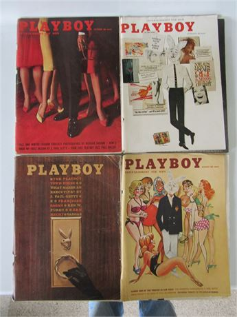 Early 60s Playboy Magazines w/ Centerfolds. 4 Mags