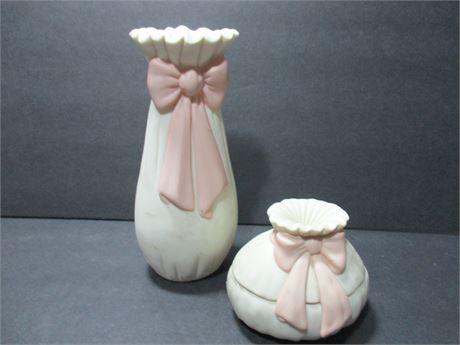 """Vintage 2 Pcs 6"""" Ceramic Keepsake Bisque fancy China  Vase"""