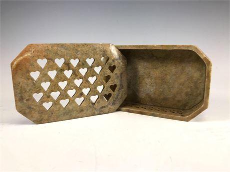 Soapstone Pierced Heart Lidded Trinket Box