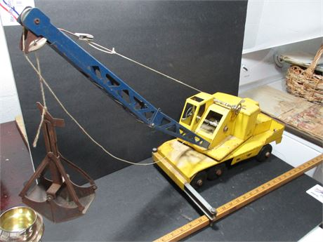 """Vintage 1950's Steel 22""""  NY-LINT  Michigan Earth Mover Crane Toy Rare"""