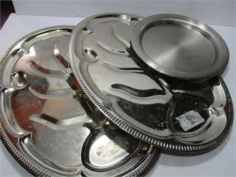 2 Vintage stainless meat Platter Trays & smaller round
