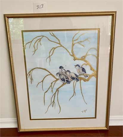 Original Doris Jira Framed Watercolor - Birds