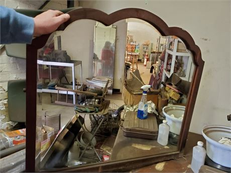 Antique Wood Framed Beveled Wall Mirror