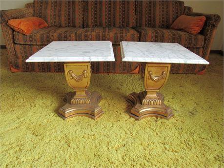 Pair Marble Top Greek Style End Tables, Vintage