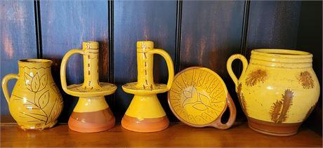 Redware with Yellow Glaze Motif