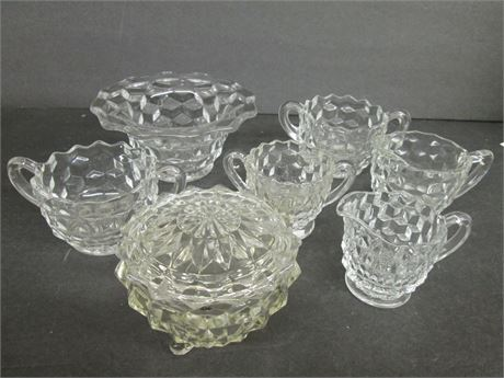 Vintage 7 Pieces Clear Glass Tumbling Block Pattern Glass Ware