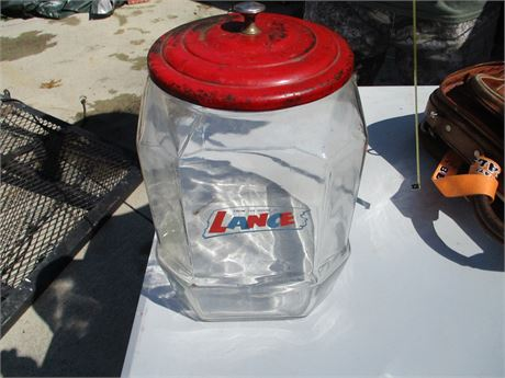 1940-50's Original Lance Peanuts Glass Canister Counter Display