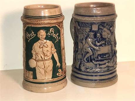 Two Antique Unlidded Beer Steins
