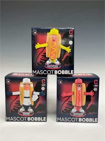 Cleveland Indians Ketchup, Mustard, Onion Bobbleheads