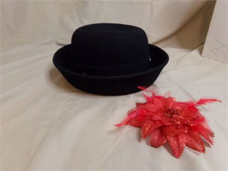 Wool Hat and Pin-less Flower