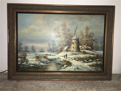 "Albrecht Brinkman Original Oil on Canvas - ""Romantic Winter Village"" Circa 1975"