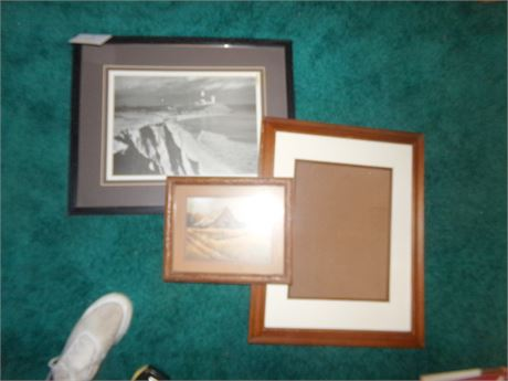2 Framed pictures and 1 empty frame