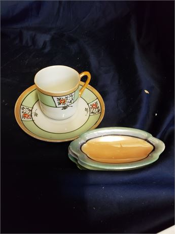 Oriental Tea Cup n Saucer and Sushi Plate Lot of 6