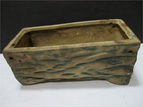 """Vintage 1950's  7"""" faux Tree Log clay pottery Planter"""