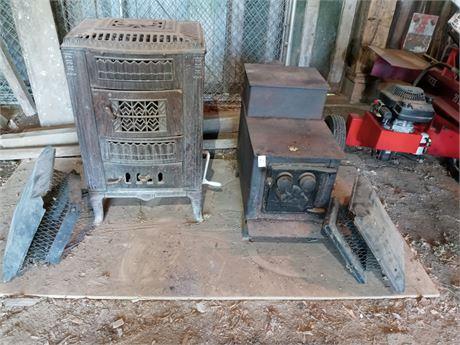 2 wood burner stoves and flue tops