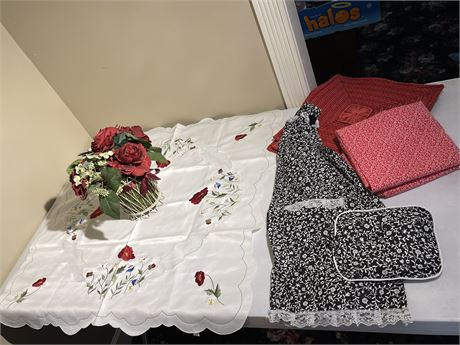Apron, Placemats, Faux Flower Decor and Beautiful Tablecloth
