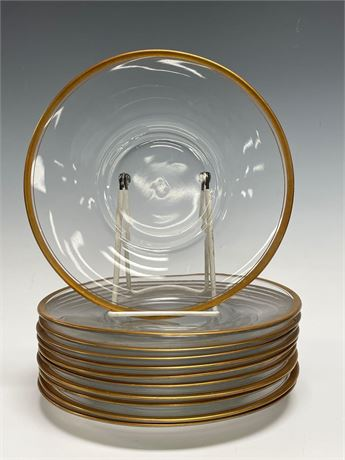Clear Glass Salad Plates with Gold Trim -Most Likely by Tiffin Glass co. or