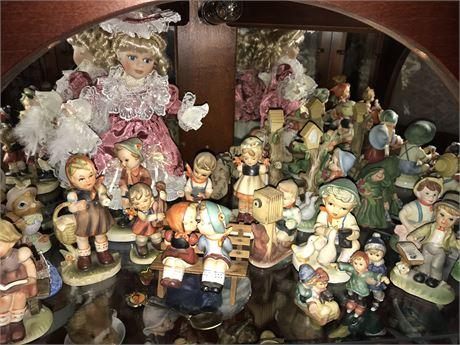 Whole Shelf of Porcelain Figurines