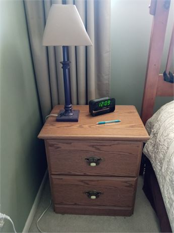 Nightstand/Side Table with Lamp.   Radio Alarm Clock  NOT included