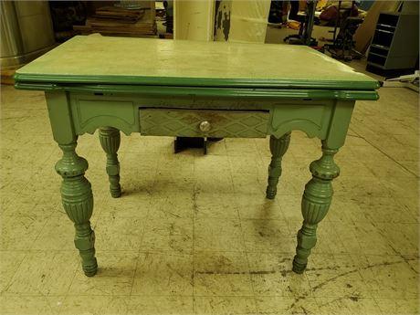 Antique Porcelain Top Table Hidden Leaves + Drawer