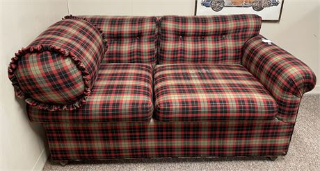 Perfect Man (or Lady) Cave Plaid Upholstered Love Seat on Rollers