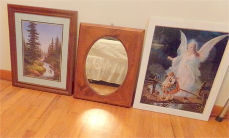 2 Pictures and Decorative Mirror