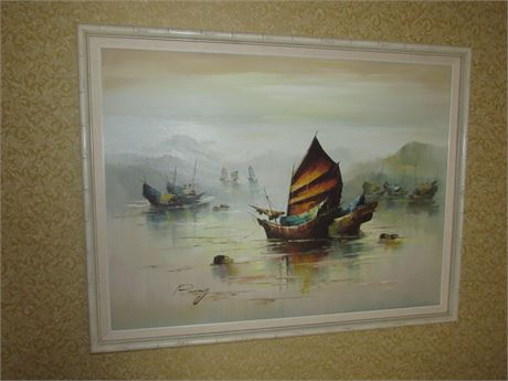 MCM Oil Painting of Oriental Ships, Signed & Framed