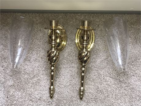Pair of Heavy Brass Sconces with Glass Shades