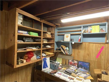 Art Deco Desk Lamp w/ Items on Desk and Shelves  (see description)