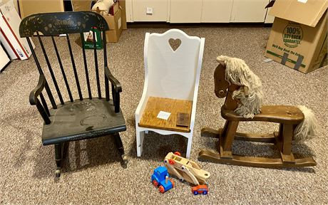 Children's Wooden Toys and Chairs - See Photos and Description