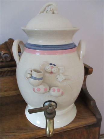 Hand Crafted Pottery Franceinz Signed Yankee Peddler Spigot Water Jug