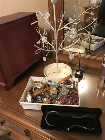 Jewelry Tree, Bin of Watches, Oil Can Ring Holder and Sterling Necklace with CZ