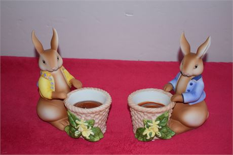 Partylite pair of Bunny Rabbit tealight holders