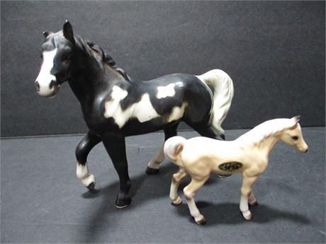 "2 Pieces 6"" & 3"" Ceramic Collectible Horse Figurines Japan"