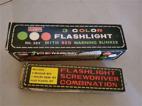 Vintage Ash Flash 3 Color Flashlight + Light / Screwdriver Combo BOXES