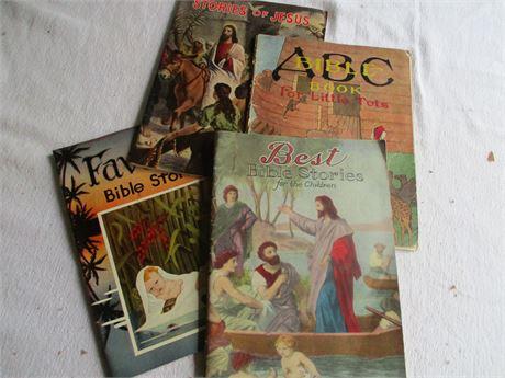 4 Vintage 1930's Children's Bible Stories Rare Books Lot