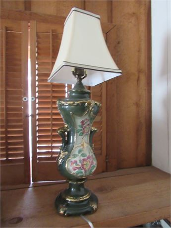 Vintage Hand Painted Lamp, Rewired