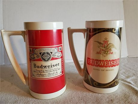 2 Vintage Budweiser Thermo-Serv Mugs