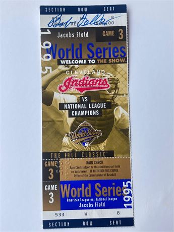 1995 World Series Ticket Autographed by Bob Feller
