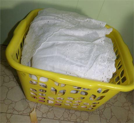 Sheets, Shams, and Clothes Basket