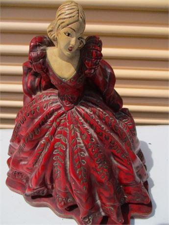 "Antique 13"" Old World Chalk Ware Art Woman Statue"