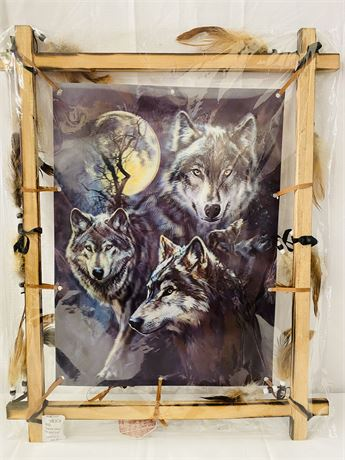 Holographic Wolf Picture.  Frame Has Feathers and Beads.