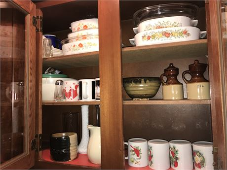 Kitchen 2 Door Cabinet Lot - Corningware, Mugs and more