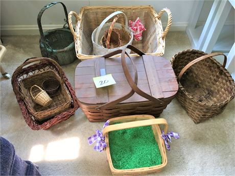 Assortment of Wicker Baskets and Woven Wood Picnic Basket