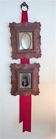 Pair Antique Carved Wood Frames