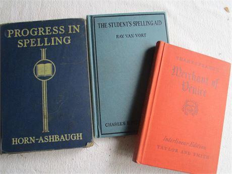 3 Vintage 1923 Spelling 1936 Skaepeare Merchant Venice & Progress